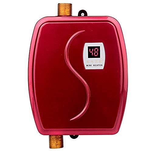 Elektro-Durchlauferhitzer, 3000 W Mini-Durchlauferhitzer mit Auslaufschutz und LCD-Digitalanzeige,Red (Durchlauferhitzer Kaufen)