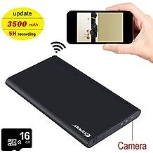 Corprit Cámara Oculta WIFI Spy IP Cam HD 1080P Ultrafino Banco de energía 3500mAh Grabador Fuente de Alimentación Portátil Cámara de Seguridad Espía, Incluye Micro SD de 16GB