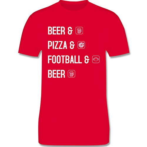Sonstige Sportarten - Beer Pizza Football Beer - Herren Premium T-Shirt Rot