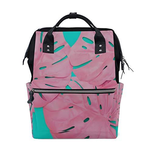 (Rosa gemaltes tropisches Palmblatt große Kapazitäts Windel bauscht sich Mummy Rucksack multi Funktionen Windel Pflegetasche Tote Handtasche für Kinder Babypflege Reise tägliche Frauen)