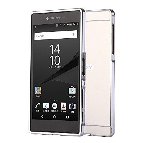 """HICASER Luxus Chrom Bumper Hülle für Sony Xperia Z5 Premium 5.5"""" Case Mirror Ultra Slim Dünn Metall Aluminium + Kunststoff Handytasche Schutzhülle protective Cover Silber"""