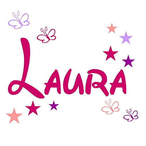 Wandschnörkel® ++Wandtattoo Aufkleber 2810 personalisiert mit dem Namen Ihrer Kindes++ Tür Wand Schrank Kinderzimmer Geschenk Türschild +11 teilig Sterne/Schmetterlinge Pink MIX und andere Farben