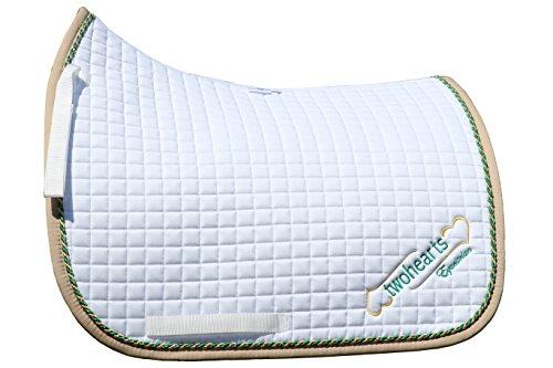 Schabracke Weiss Model WOLKENTANZ by twohearts (Premium Qualität Ergonomisch und Atmungsaktiv) (XL Dressur (ca 3 cm mehr Rückenlänge))