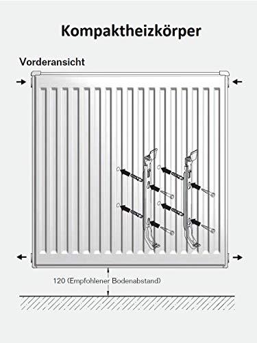 Buderus Logatrend Kompakt-Flachheizkörper C-Profil Typ 22 BH 600 vers. Längen + Halter (BL: 800 mm)