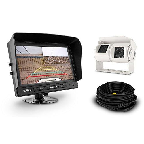 Carmedien 9 Zoll Profi Video Rückfahrsystem cm-GDKRFS1 mit Twin Doppel Rückfahrkamera 120° + 60° und großem Monitor Bildschirm