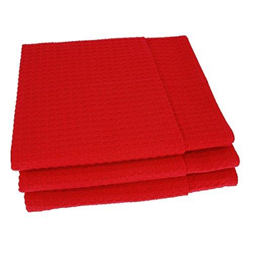 3x Geschirrtücher / Tücher aus 100% Baumwolle Waffel-Piqué in Rot (Rot Geschirrtuch)