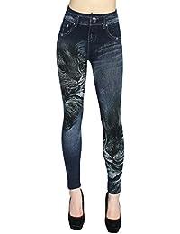 46be3a33874990 dy_mode Leggings Damen High Waist Hose Jeans Optik Jeggings ideal zu jeder  Jahreszeit - OneSize Gr