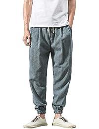 Cinnamou Pantalones Holgados de HaréN Hombre Elasticos Cordón Pantalón  Deportivos Pantalones Largos Casuales de Lino de 945e147f41a2