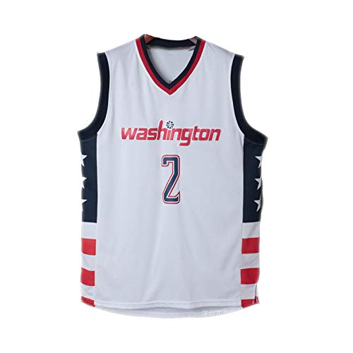 John Wall Trikot, Nr. 2, Washington Wizards, John Wall2#, Basketball Trikot, Klassische ärmellose Stickerei, Unisex Herrenliga-White-XL