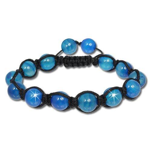 SilberDream Shamballa Armband Stein blau mit verschieden großen Steinkugeln SDA917