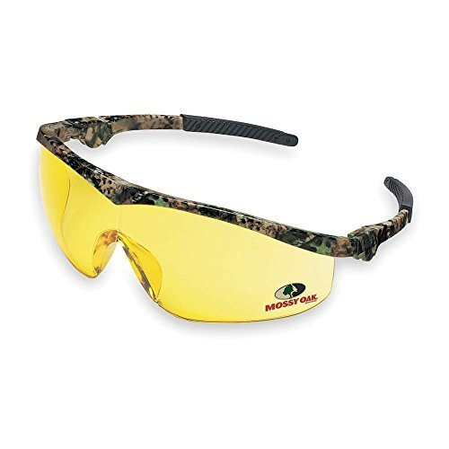 1 Pair Crews MO114 Mossy Oak Safety Glasses Oak Camo Frame Amber Lens by MCR Safety