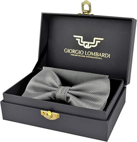 Giorgio Lombardi Herren Fliege Luxus bow tie mit passendem Einstecktuch - Fertig gebunden und verstellbar - Fliegen Set in edler Geschenkbox - Stil Bow Tie