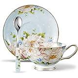 Panbado Service à Café Thé Anglais Tasse 200ml en Porcelaine à la Cendre d'Os avec Soucoupe Cuillère Couleur Bleu Fleuri (1 Set Tasse à Thé Sans Porte-tasse)