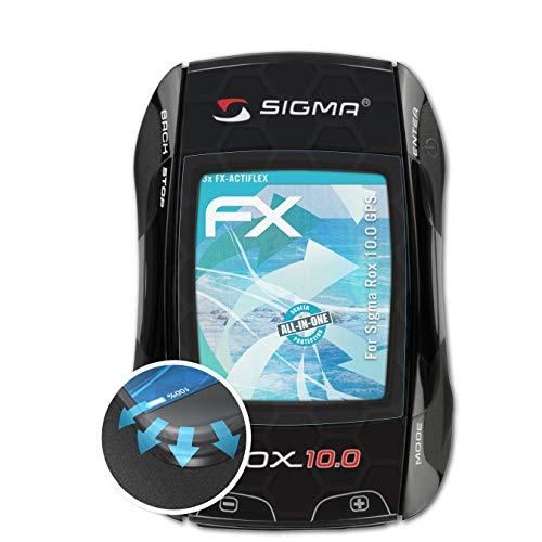 atFoliX Schutzfolie passend für Sigma Rox 10.0 GPS Folie, ultraklare und Flexible FX Displayschutzfolie (3X)