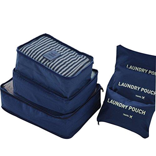 LUOEM Unterwäsche Aufbewahrungstasche 6 teilige Kleidertasche Multifunktion Kofferorganizer für Camping Travel (dunkelblau)