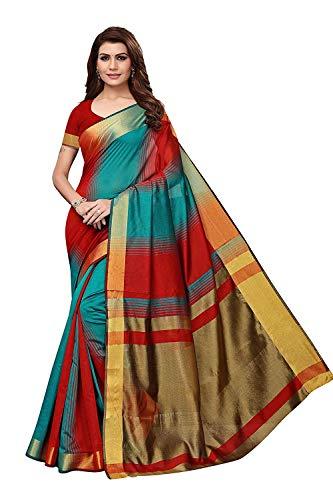 RR Crafts&Creations Kunst Seide Baumwoll Mischung Saree mit Blusenstück für Frauen & Mädchen,Party Wear Saree, Casual Saree, Abend Saree, Saree für Hochzeit, Kleid für Frauen, (rot) -