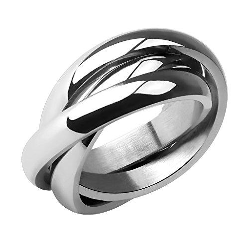 Piersando Damen Ring Edelstahl Dreifach Dreier Partnerring Ehering Bandring Trauring Damenring Silber Größe 49 (15.6)