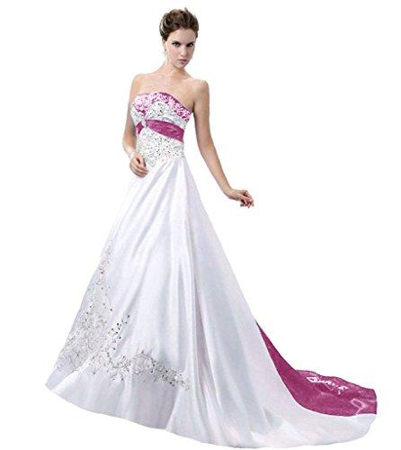 APXPF Damen Satin Stickerei Brautkleid mit Kathedrale Zug 18 Plus Weiß und Rose