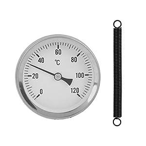 VBESTLIFE 63mm Metallthermometer,Thermograph Wassertemperaturprüfgerät Messuhr 0-120 ° C,geeignet für Warmwasserleitung, Klimaanlage Rohr, Öltank usw.