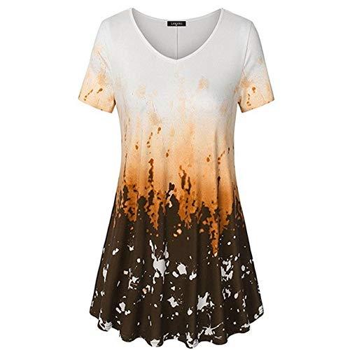 YEZIJIANG Neu Damen V-Ausschnitt Kurzarm Tunika Tops Sommer Farbverlauf Gedruckte A-Linie Kleid T-Shirt Oversize Bluse Tees Shirt Oberteile Plus Größe S-5XL -