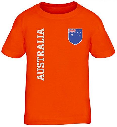Australien Fußball WM Fanshirt Gruppen Kinder T-Shirt Rundhals Mädchen Jungen Fan Trikot Australia, Größe: 122/128,Orange