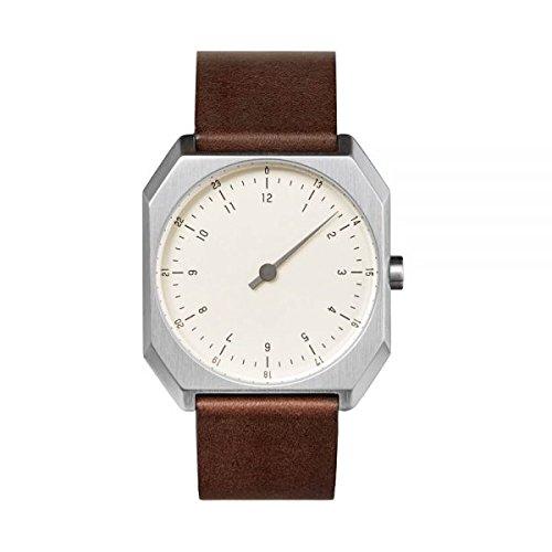 slow AM/PM edition 03 - Schweizer unisex Einzeigerarmbanduhr analoge 24 Stundenanzeige Leder silber/dunkelbraun