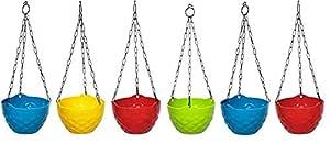 """Truphe Diamond Hanging Pots, Multi Color Flower Pots Size: 8"""" Inch Dia"""