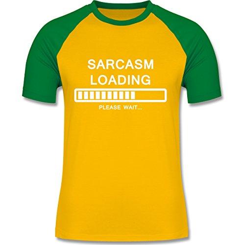 Statement Shirts - Sarcasm Loading - please wait - zweifarbiges Baseballshirt für Männer Gelb/Grün