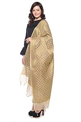 Weaving Wonders Women's Banarasi Silk-Cotton Blend Chanderi Dupatta (VE11045-A, Champagne Gold, Free Size)