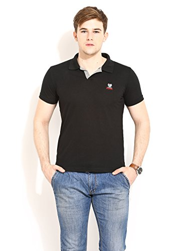 Duke Stardust Casual T-Shirt for Men Polo Collar Cotton Blend Material Half Sleeves Black Solid Smart Fit  available at amazon for Rs.335