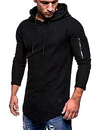 Yvelands Liquidación Moda Casual para Hombres Hermoso O-Cuello con  Cremallera Camiseta de Manga Larga a Rayas con Corte Slim… c3e108de0f92