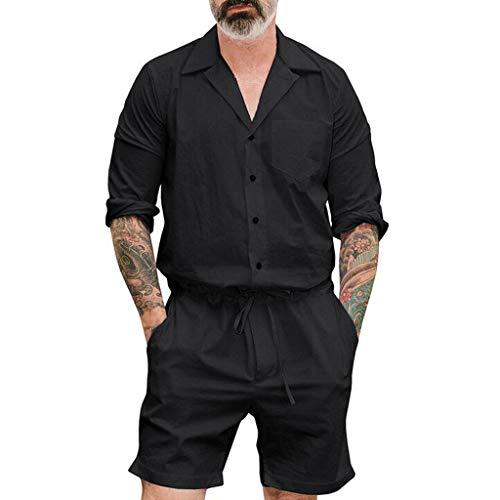 Saingace Herren Sommerjumpsuit kurz Anzug Overall Onesie Jumpsuit Mode Reine Farben-große Kleidungs ()