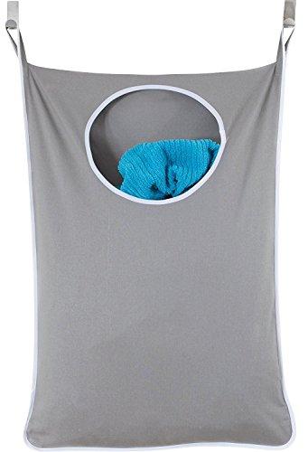 Cesta de lavandería para ropa sucia, bolsa de almacenamiento sobre la puerta para colgar ropa sucia, cesta de ropa interior, ahorro de espacio, de lino, para baño, cuarto de bebé, guardería, lavandería, cesta organizadora gris oscuro