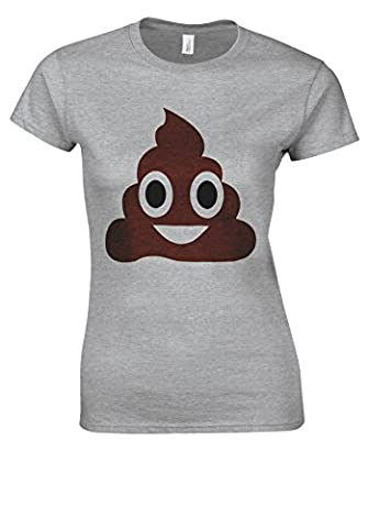 Cute SH*T POO Emoji Emoticon ICON Sports Grey Women T Shirt Top-XXL