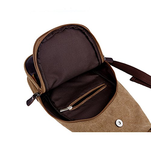 Honeymall Messenger Bag Zaini Casual Alpinismo Zaino ,tela,19*9*39 cm,Verde Marrone