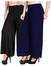 Klugger Trendy High Waist Wide Leg Stretchy Palazzo Pants For Women's_Free Size Combo (Pack-2)