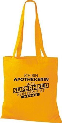 shirtstown Borsa di stoffa SONO Apothekerin, WEIL supereroe NESSUN lavoro è giallo dorato