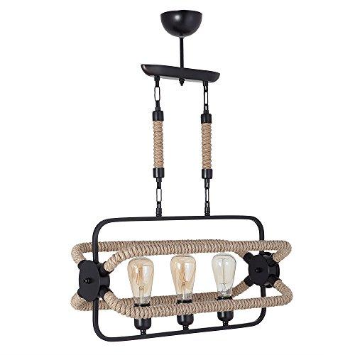 LaModaHome Kronleuchter Hausdekor schwarz braun Seil modisch Spinnrad stilvoll modern traditionell Hängeleuchte Deckenlampe Wohnzimmer Arbeitszimmer Zimmer 7685-3 schwarz Creme beige