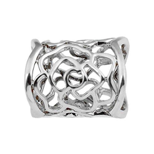 ULTNICE Frauen hohle Rose Schal Schnalle Ring (Silber)