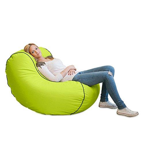 Lumaland Luxury Lounge Chair Sitzsack stylischer Beanbag 320L Füllung verschieden Farben Grün