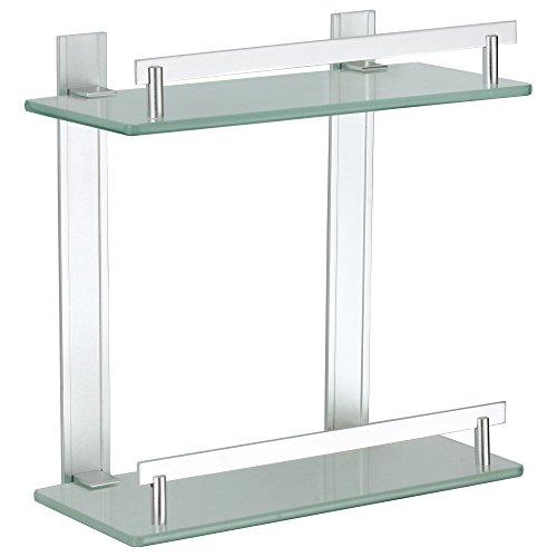 MSV Tabarca Étagère à 2 étages, en aluminium et en verre, 30 x 13 cm