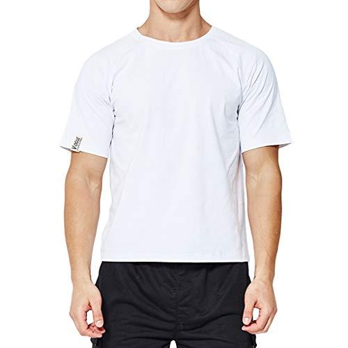 UINGKID Herren Sommer T-Shirt O-Ausschnitt Slim Fit Mode- und Kurzarmhemd mit Rundhalsausschnitt und...
