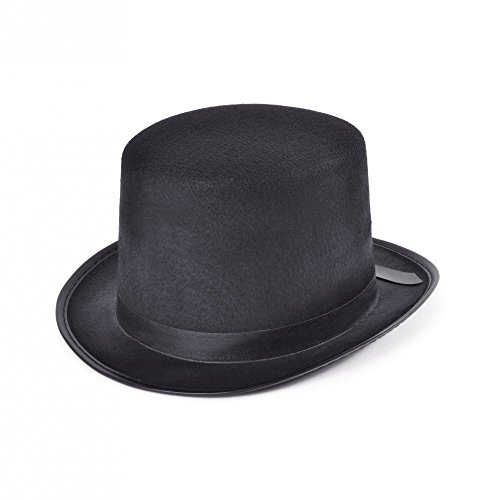Schwarzer Herren Zylinder mit Satinband Gr. 60 Gentleman Edelmann Steampunk Hut