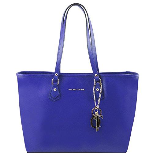 Tuscany Leather TL KeyLuck - Borsa shopping TL SMART in pelle Saffiano con due manici Blu Borse donna a tracolla Blu
