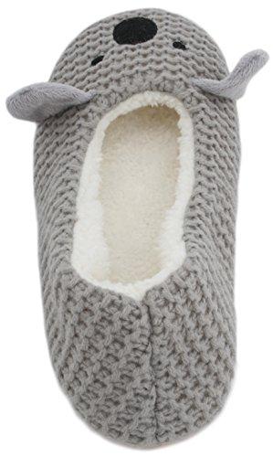 Slumberzzz, pantofole a ballerina da donna con animali a maglia. Grey Koala