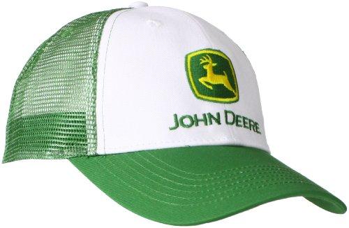 John Deere Herren-Baseballkappe mit Logo und Netzrücken - Weiß - Einheitsgröße Twill Mesh Back Cap