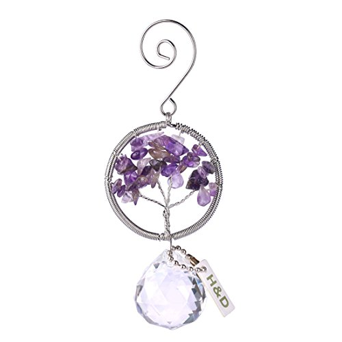 H & D Leben Wisdom Baum Natur Kristall Stein handgefertigt Kreis bunte Kristall Ball Anhänger für Geschenk violett