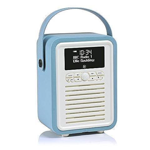 VQ Retro Mini DAB & DAB+ Digital Radio with FM, Bluetooth & Alarm Clock – Blue