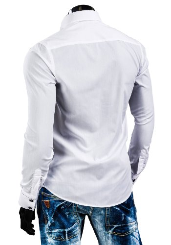 BOLF Herrenhemd Langarm Hemd Figurbetont Freizeit Klassisch Casual Business Bügelleicht Herren Men's Hochzeit Slim fit Modern Super Qualität 1721 Weiß