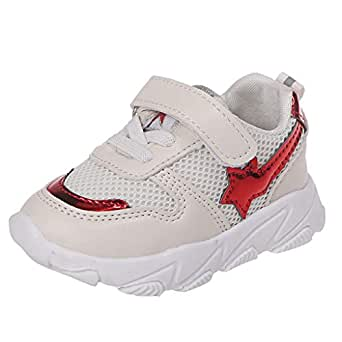 Rosatro Kids Sports Shoes Girls Boys Star Breathable Mesh Patchwork Sneakers Children Running Relax Walking Shoes(Red,Age: 3-3.5Years (25))